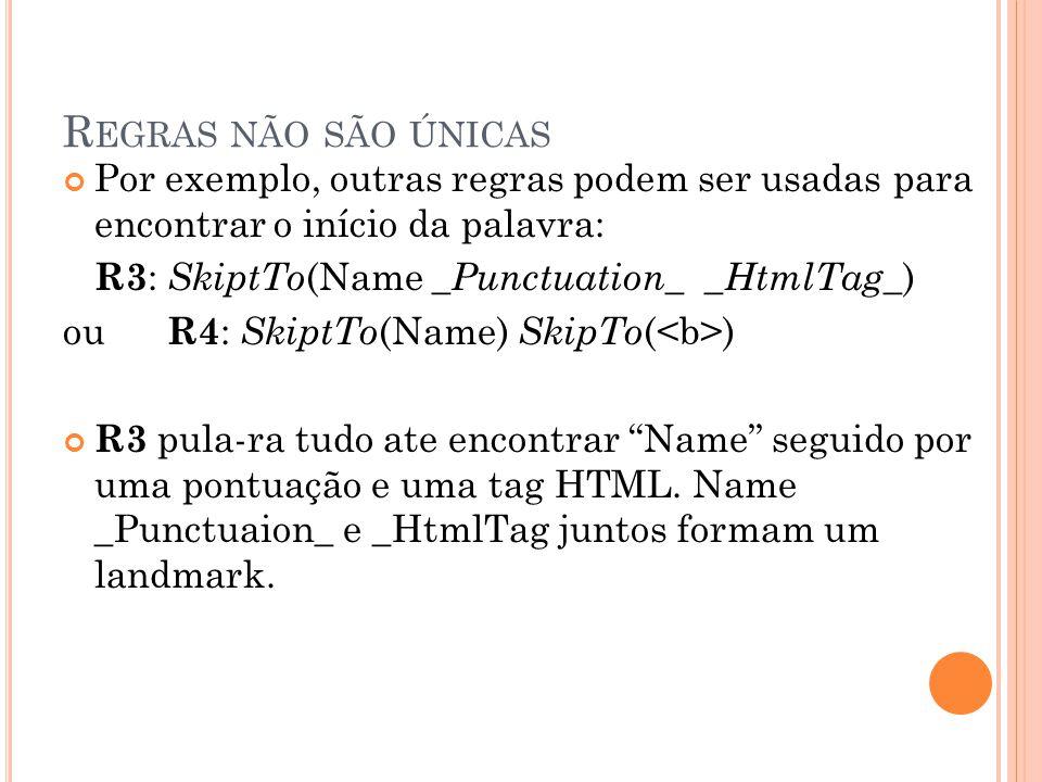 R EGRAS NÃO SÃO ÚNICAS Por exemplo, outras regras podem ser usadas para encontrar o início da palavra: R3 : SkiptTo (Name _ Punctuation_ _ HtmlTag_ )