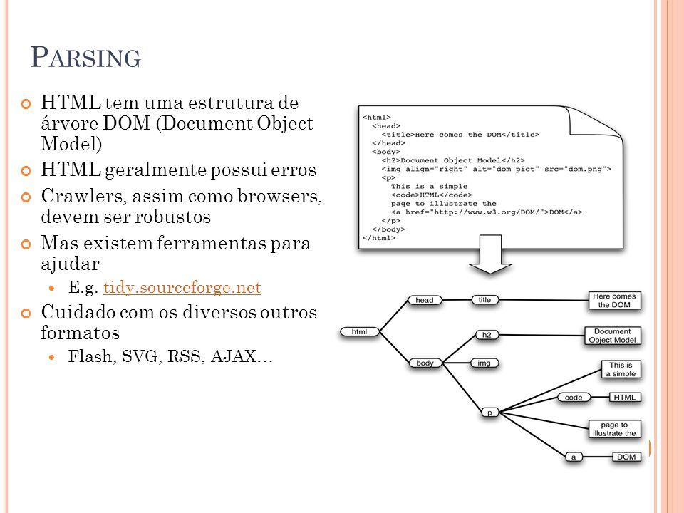 P ARSING HTML tem uma estrutura de árvore DOM (Document Object Model) HTML geralmente possui erros Crawlers, assim como browsers, devem ser robustos M