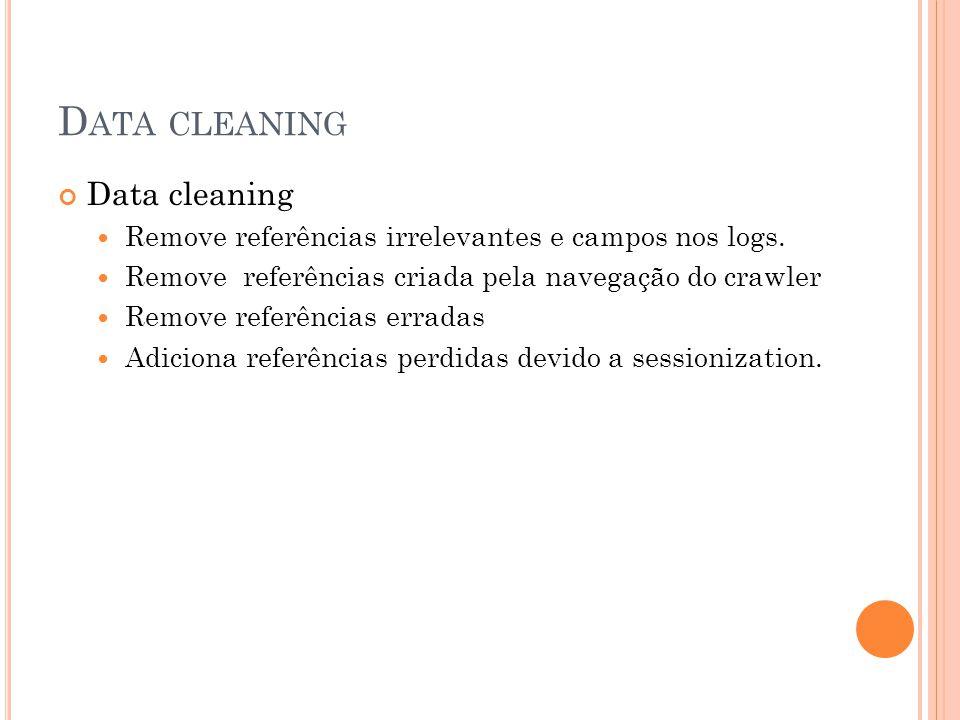 D ATA CLEANING Data cleaning Remove referências irrelevantes e campos nos logs. Remove referências criada pela navegação do crawler Remove referências