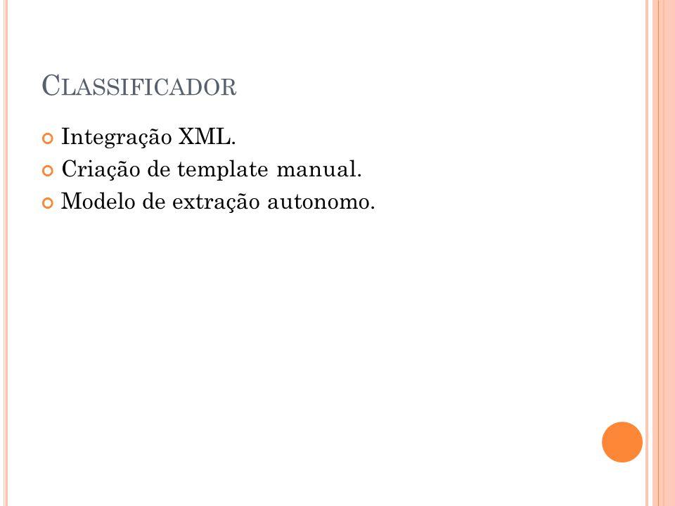 C LASSIFICADOR Integração XML. Criação de template manual. Modelo de extração autonomo.
