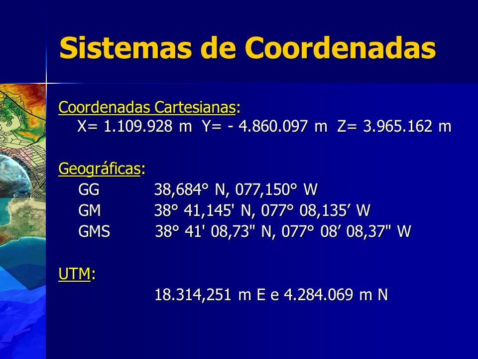 Coordenadas Cartesianas: X= 1.109.928 m Y= - 4.860.097 m Z= 3.965.162 m Geográficas: GG 38,684° N, 077,150° W GG 38,684° N, 077,150° W GM 38° 41,145 N, 077° 08,135 W GM 38° 41,145 N, 077° 08,135 W GMS 38° 41 08,73 N, 077° 08 08,37 W GMS 38° 41 08,73 N, 077° 08 08,37 W UTM: 18.314,251 m E e 4.284.069 m N Sistemas de Coordenadas