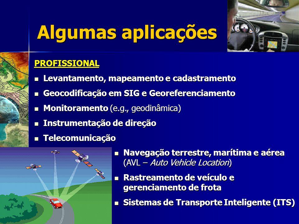 Algumas aplicações PROFISSIONAL Levantamento, mapeamento e cadastramento Levantamento, mapeamento e cadastramento Geocodificação em SIG e Georeferenciamento Geocodificação em SIG e Georeferenciamento Monitoramento (e.g., geodinâmica) Monitoramento (e.g., geodinâmica) Instrumentação de direção Instrumentação de direção Telecomunicação Telecomunicação Navegação terrestre, marítima e aérea (AVL – Auto Vehicle Location) Navegação terrestre, marítima e aérea (AVL – Auto Vehicle Location) Rastreamento de veículo e gerenciamento de frota Rastreamento de veículo e gerenciamento de frota Sistemas de Transporte Inteligente (ITS) Sistemas de Transporte Inteligente (ITS)
