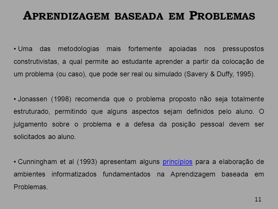 A PRENDIZAGEM BASEADA EM P ROBLEMAS Uma das metodologias mais fortemente apoiadas nos pressupostos construtivistas, a qual permite ao estudante aprend