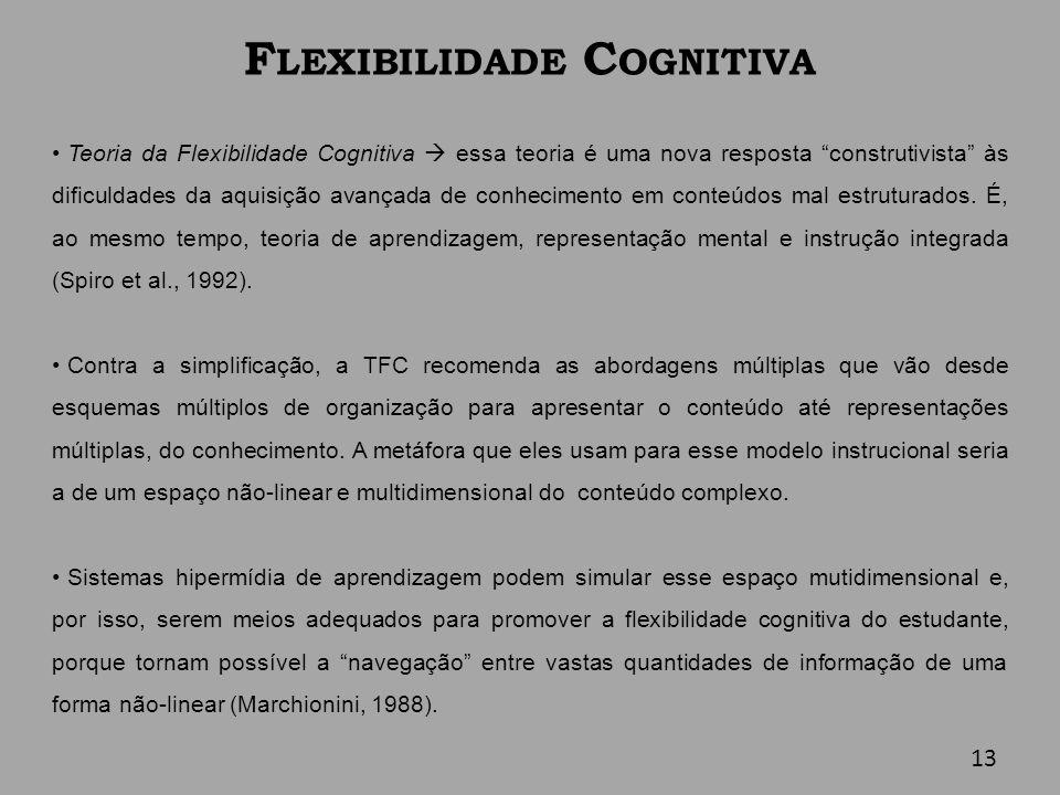 F LEXIBILIDADE C OGNITIVA Teoria da Flexibilidade Cognitiva essa teoria é uma nova resposta construtivista às dificuldades da aquisição avançada de co