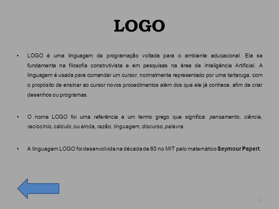 LOGO LOGO é uma linguagem de programação voltada para o ambiente educacional. Ela se fundamenta na filosofia construtivista e em pesquisas na área de