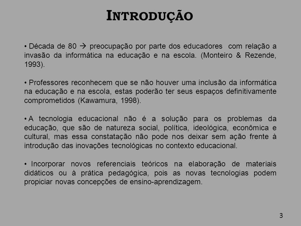 I NTRODUÇÃO (cont.) O uso das novas tecnologias apenas como instrumento (livro eletrônico, tutoriais multimídias, etc.) tende a ser inócuo na educação, pois nada de novo se refere à concepção de ensino-aprendizagem.