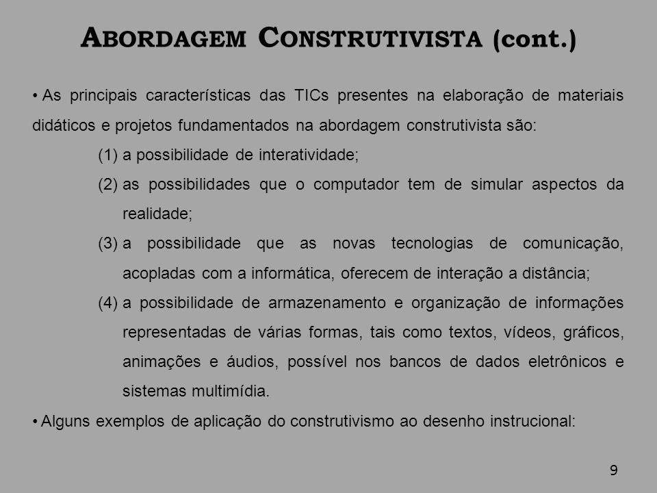 A BORDAGEM C ONSTRUTIVISTA (cont.) As principais características das TICs presentes na elaboração de materiais didáticos e projetos fundamentados na a