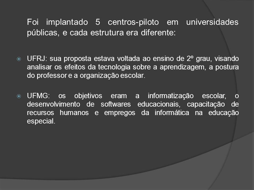 UFPE: teve como objetivos a pesquisa e formação de recursos humanos, a análise de softwares educacionais e da Linguagem Logo na aprendizagem dos alunos.