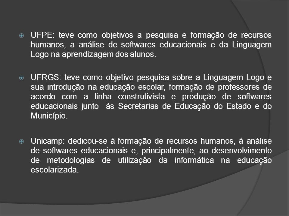 Formação de professores: Entre as recomendações do grupo, uma delas orienta que se dê ênfase particular à formação de recursos humanos para que o computador seja introduzido adequadamente na escola como instrumento de ensino.
