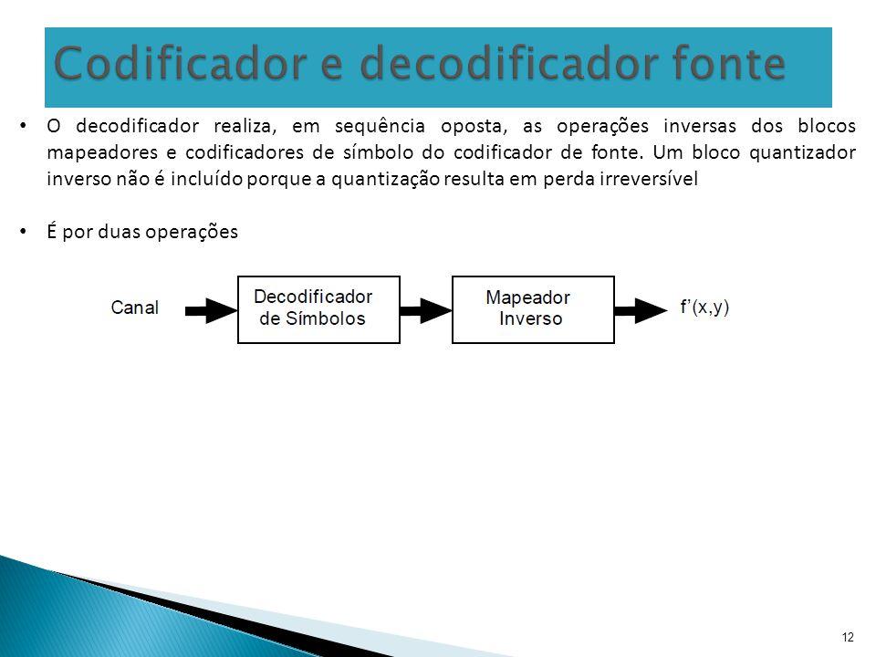 12 O decodificador realiza, em sequência oposta, as operações inversas dos blocos mapeadores e codificadores de símbolo do codificador de fonte. Um bl