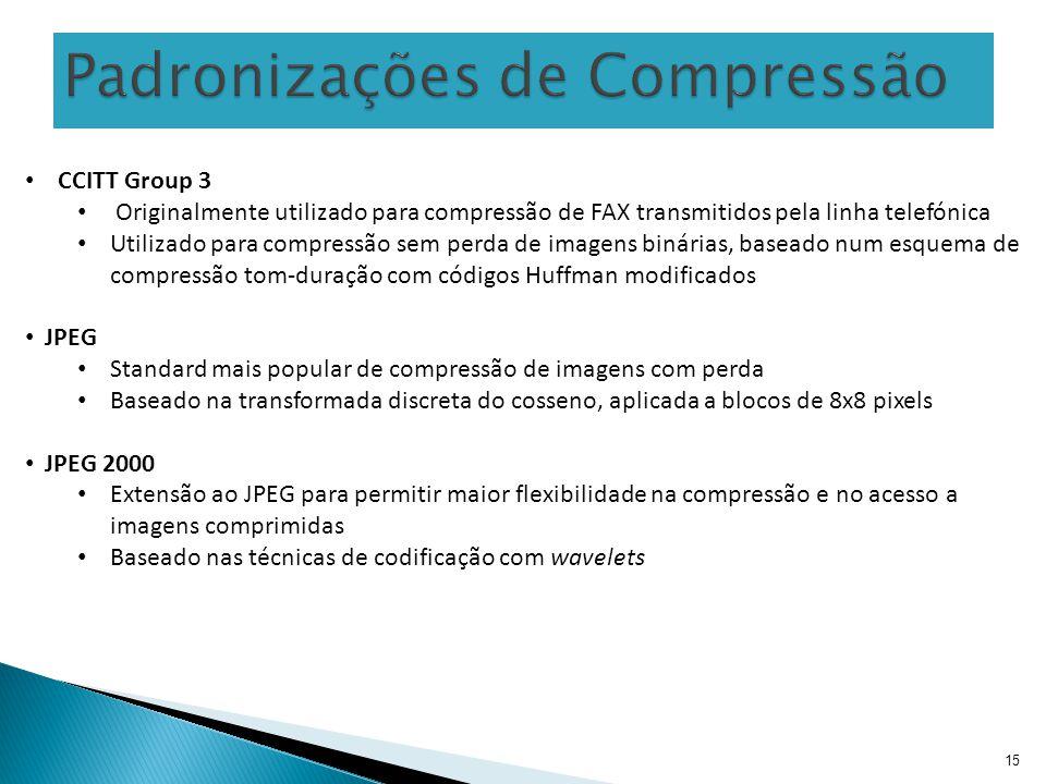 15 CCITT Group 3 Originalmente utilizado para compressão de FAX transmitidos pela linha telefónica Utilizado para compressão sem perda de imagens biná