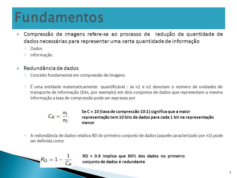 14 Métodos de compressão sem perdas permitem a codificação e decodificação de imagens livres de erros.