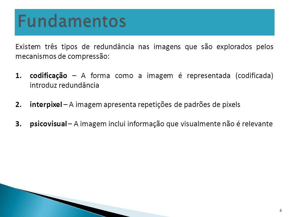 4 Existem três tipos de redundância nas imagens que são explorados pelos mecanismos de compressão: 1.codificação – A forma como a imagem é representad