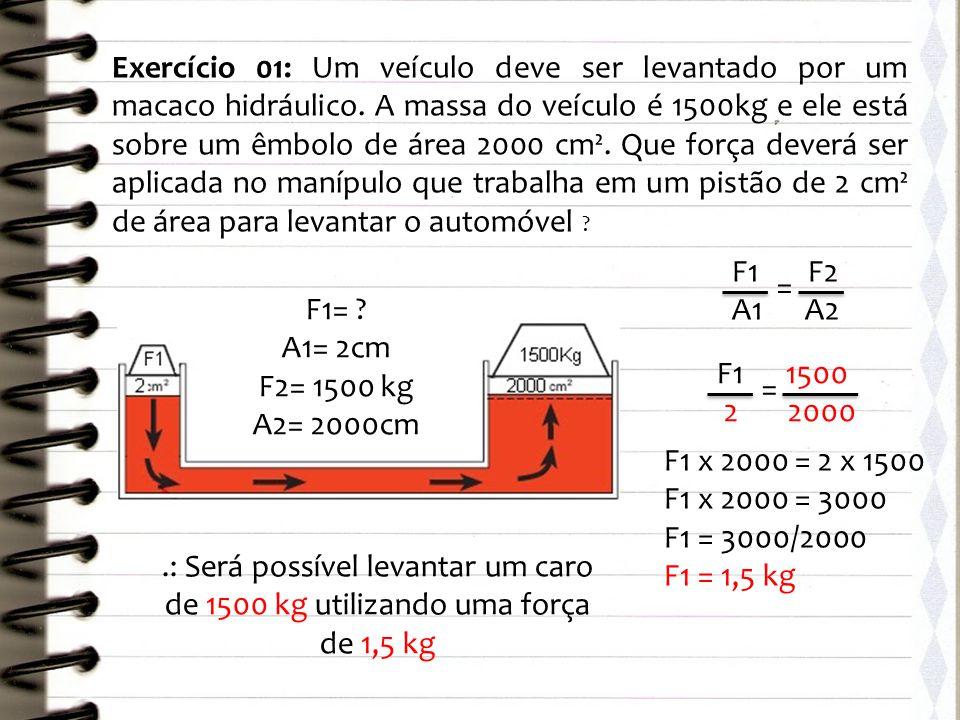 Exercício 01: Um veículo deve ser levantado por um macaco hidráulico. A massa do veículo é 1500kg e ele está sobre um êmbolo de área 2000 cm². Que for