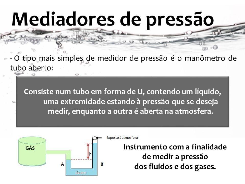 Mediadores de pressão Instrumento com a finalidade de medir a pressão dos fluidos e dos gases. - O tipo mais simples de medidor de pressão é o manômet