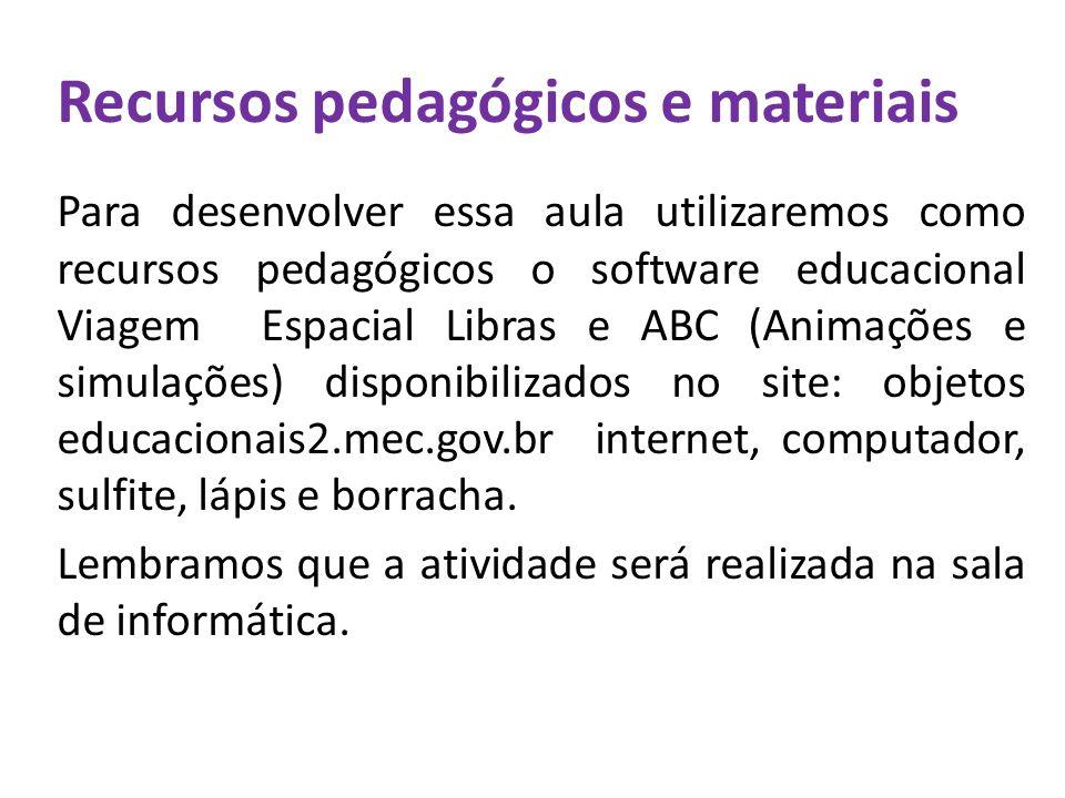 Recursos pedagógicos e materiais Para desenvolver essa aula utilizaremos como recursos pedagógicos o software educacional Viagem Espacial Libras e ABC