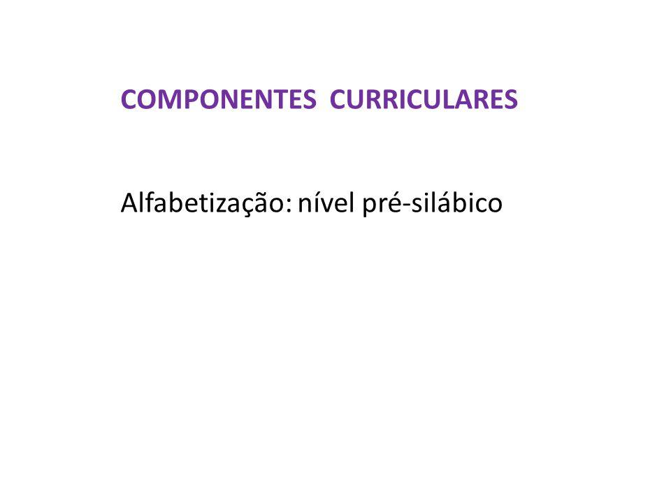 COMPONENTES CURRICULARES Alfabetização: nível pré-silábico