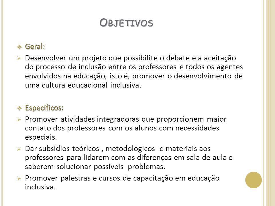 O BJETIVOS Geral: Geral: Desenvolver um projeto que possibilite o debate e a aceitação do processo de inclusão entre os professores e todos os agentes