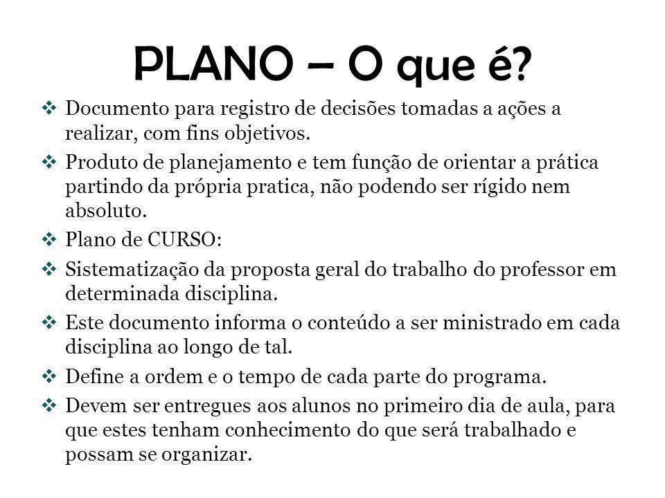 PLANO – O que é? Documento para registro de decisões tomadas a ações a realizar, com fins objetivos. Produto de planejamento e tem função de orientar