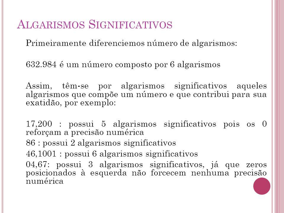 A LGARISMOS S IGNIFICATIVOS Primeiramente diferenciemos número de algarismos: 632.984 é um número composto por 6 algarismos Assim, têm-se por algarism