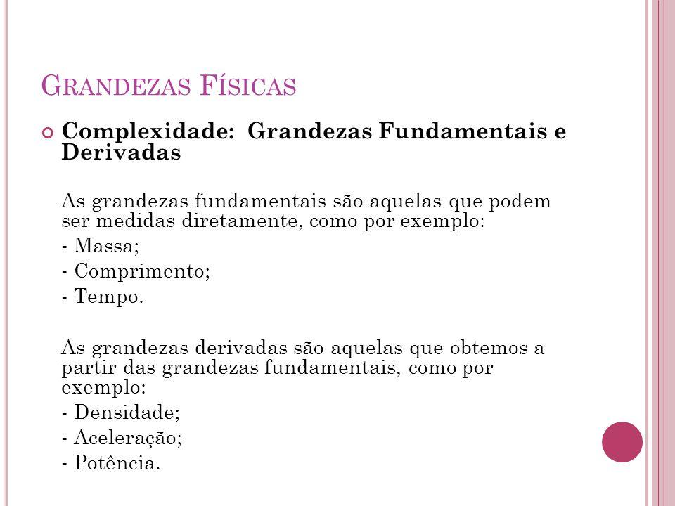 G RANDEZAS F ÍSICAS Complexidade: Grandezas Fundamentais e Derivadas As grandezas fundamentais são aquelas que podem ser medidas diretamente, como por