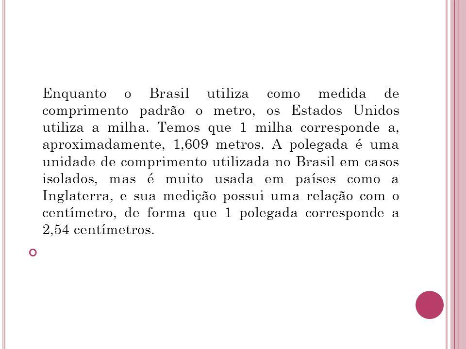 Enquanto o Brasil utiliza como medida de comprimento padrão o metro, os Estados Unidos utiliza a milha. Temos que 1 milha corresponde a, aproximadamen