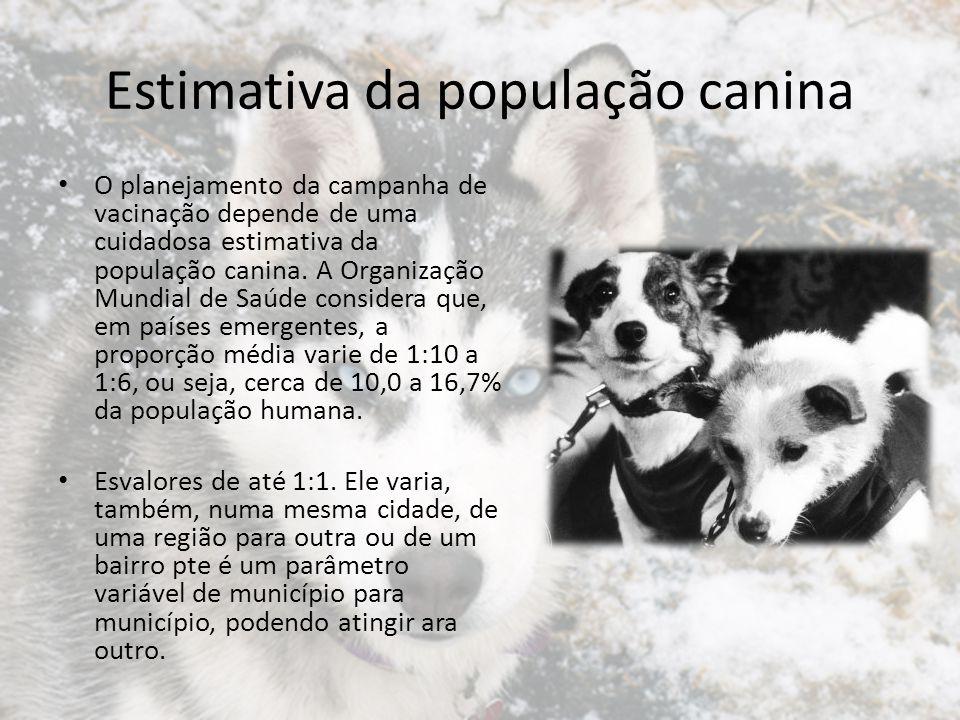 Estimativa da população canina O planejamento da campanha de vacinação depende de uma cuidadosa estimativa da população canina. A Organização Mundial