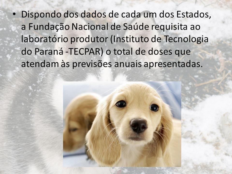 Dispondo dos dados de cada um dos Estados, a Fundação Nacional de Saúde requisita ao laboratório produtor (Instituto de Tecnologia do Paraná -TECPAR)