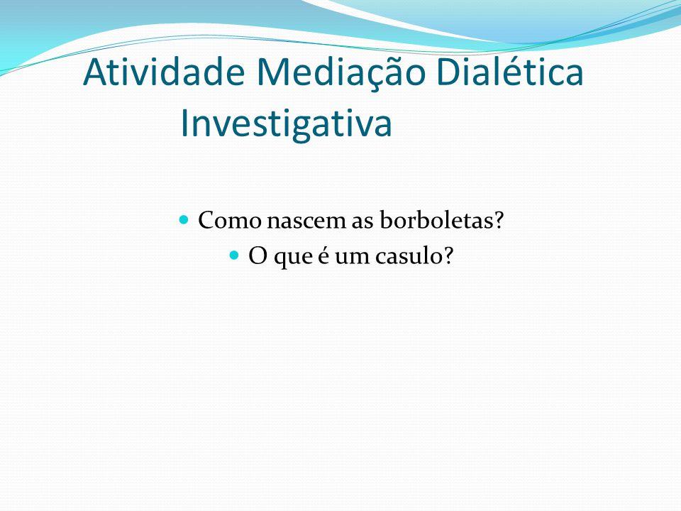 Atividade Mediação Dialética Investigativa Como nascem as borboletas? O que é um casulo?