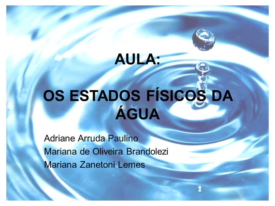 AULA: OS ESTADOS FÍSICOS DA ÁGUA Adriane Arruda Paulino Mariana de Oliveira Brandolezi Mariana Zanetoni Lemes