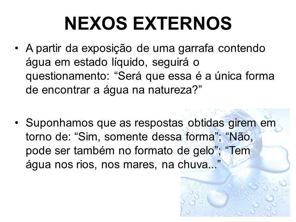 NEXOS EXTERNOS A partir da exposição de uma garrafa contendo água em estado líquido, seguirá o questionamento: Será que essa é a única forma de encontrar a água na natureza.
