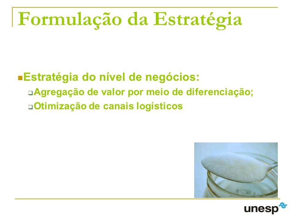 Formulação da Estratégia Estratégia do nível de negócios: Agregação de valor por meio de diferenciação; Otimização de canais logísticos