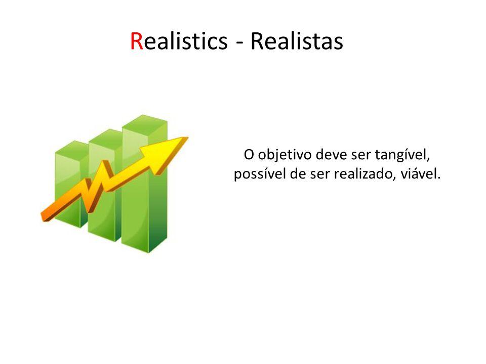 Realistics - Realistas O objetivo deve ser tangível, possível de ser realizado, viável.