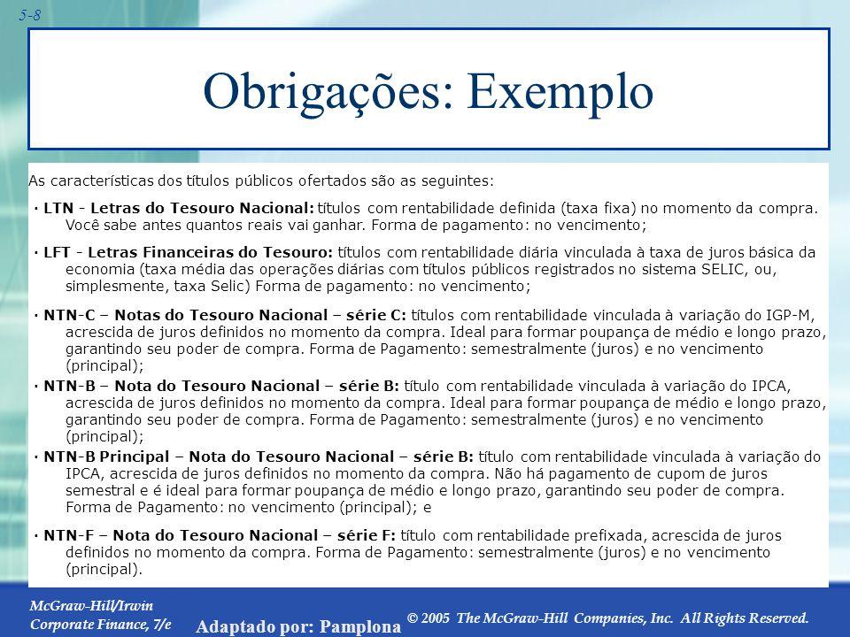 McGraw-Hill/Irwin Corporate Finance, 7/e © 2005 The McGraw-Hill Companies, Inc. All Rights Reserved. Adaptado por: Pamplona 5-8 Obrigações: Exemplo Pr