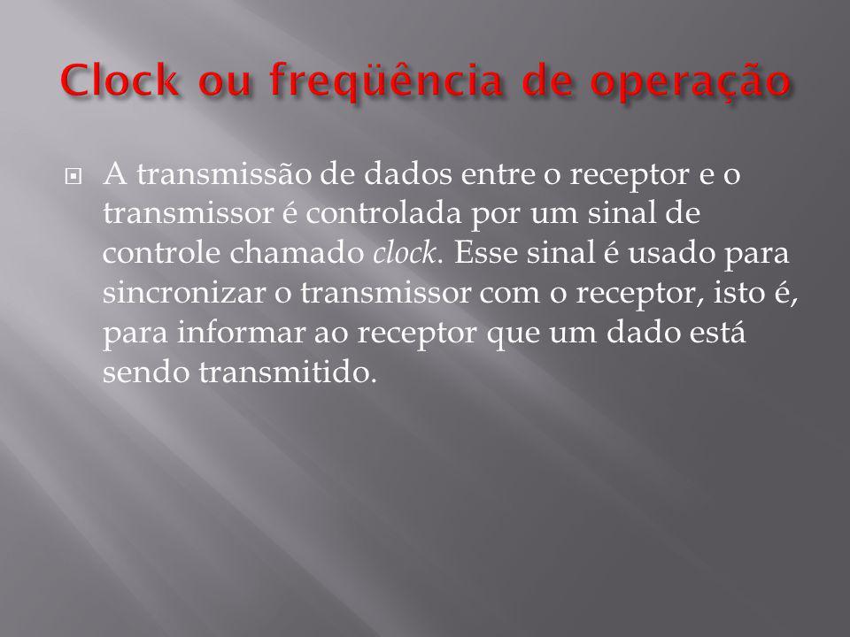A transmissão de dados entre o receptor e o transmissor é controlada por um sinal de controle chamado clock.