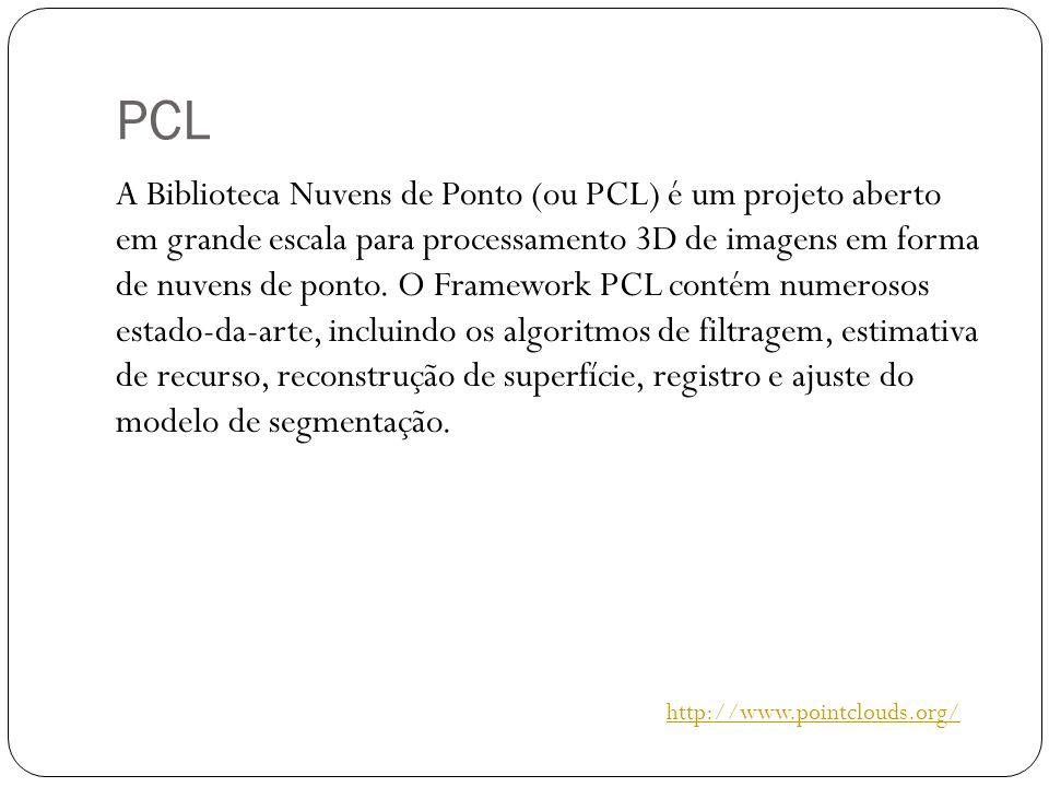 PCL A Biblioteca Nuvens de Ponto (ou PCL) é um projeto aberto em grande escala para processamento 3D de imagens em forma de nuvens de ponto.
