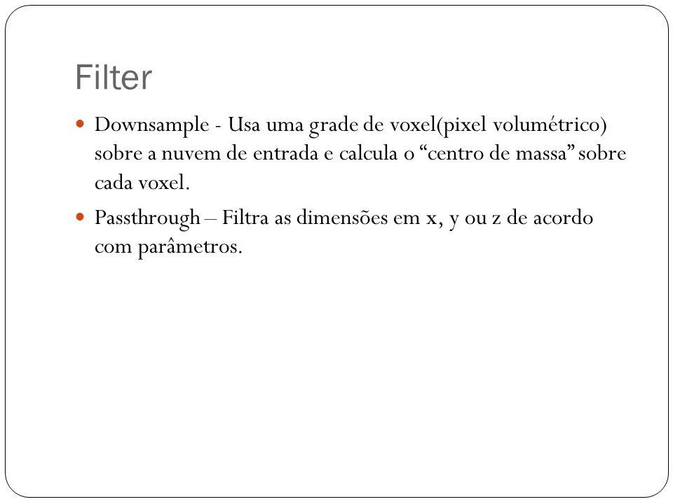Filter Downsample - Usa uma grade de voxel(pixel volumétrico) sobre a nuvem de entrada e calcula o centro de massa sobre cada voxel.