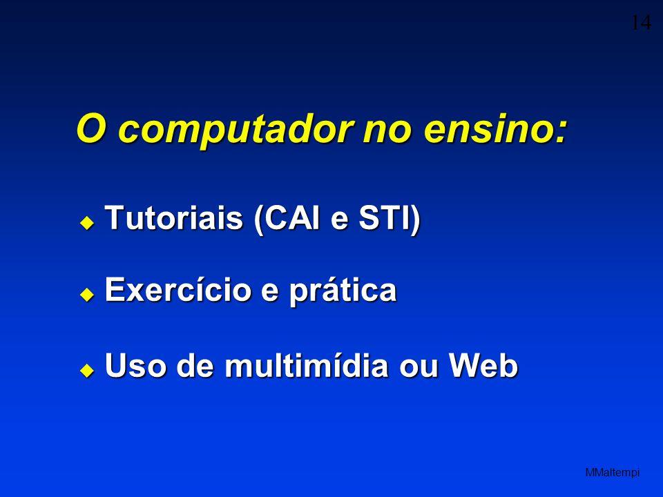 14 MMaltempi O computador no ensino: Tutoriais (CAI e STI) Tutoriais (CAI e STI) Exercício e prática Exercício e prática Uso de multimídia ou Web Uso de multimídia ou Web