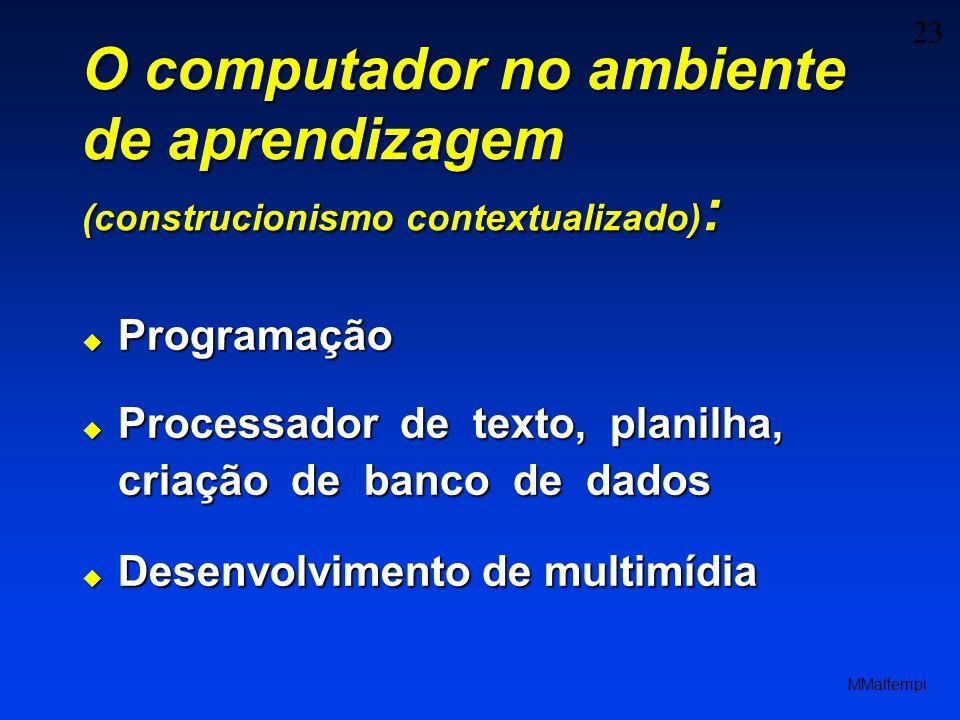 23 MMaltempi O computador no ambiente de aprendizagem (construcionismo contextualizado) : Programação Programação Processador de texto, planilha, criação de banco de dados Processador de texto, planilha, criação de banco de dados Desenvolvimento de multimídia Desenvolvimento de multimídia