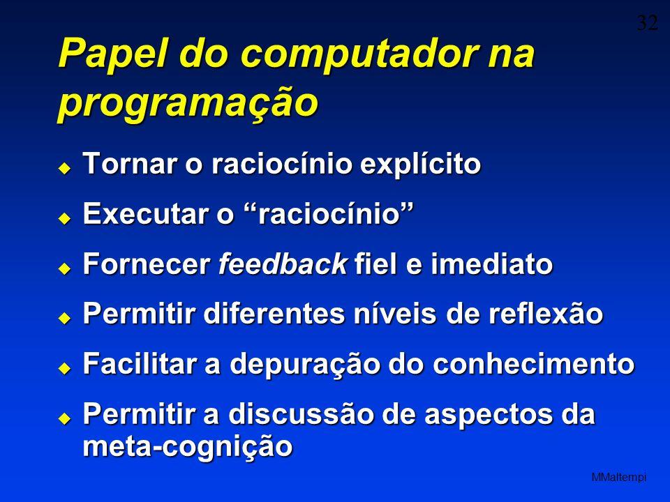 32 MMaltempi Papel do computador na programação Tornar o raciocínio explícito Tornar o raciocínio explícito Executar o raciocínio Executar o raciocíni