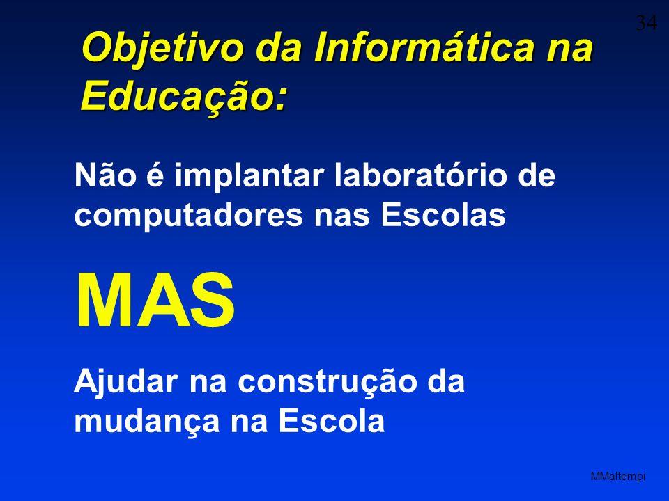 34 MMaltempi Objetivo da Informática na Educação: Não é implantar laboratório de computadores nas Escolas MAS Ajudar na construção da mudança na Escol