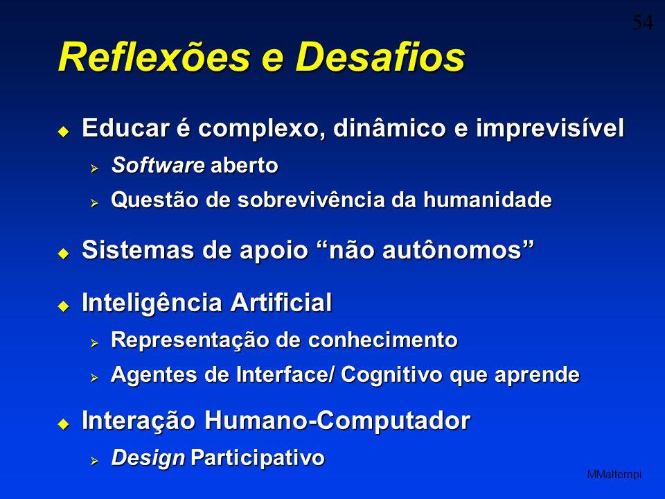 54 MMaltempi Reflexões e Desafios Educar é complexo, dinâmico e imprevisível Educar é complexo, dinâmico e imprevisível Software aberto Software abert