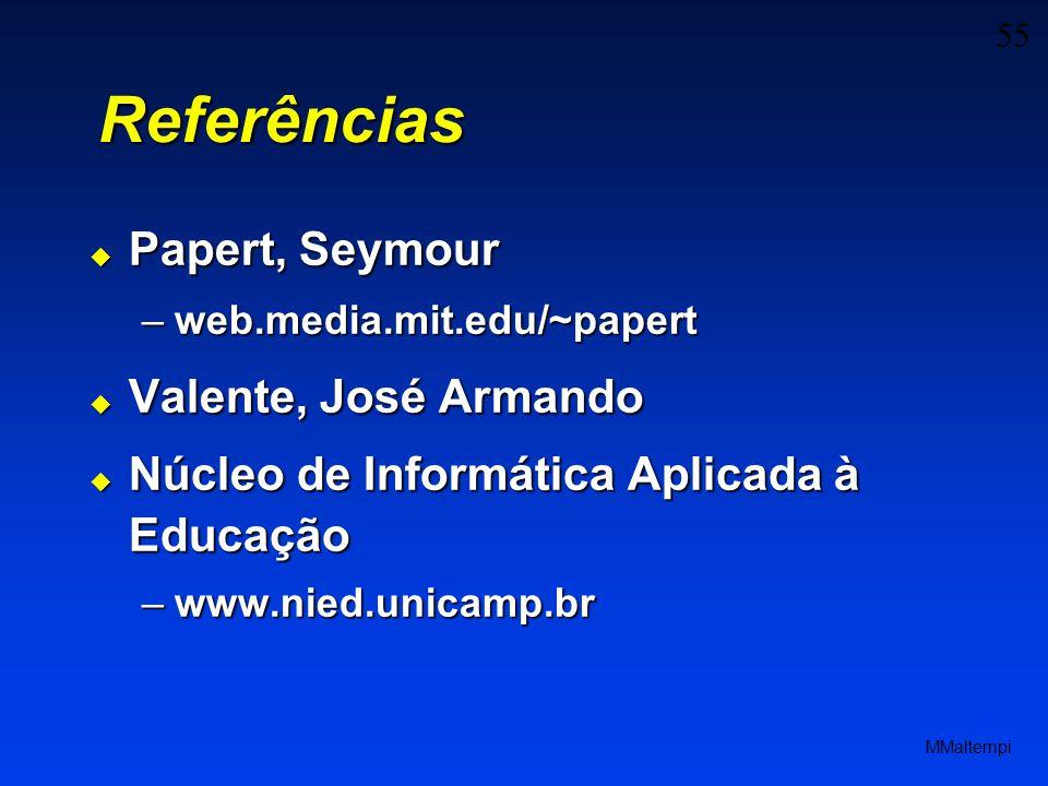 55 MMaltempi Referências Papert, Seymour Papert, Seymour –web.media.mit.edu/~papert Valente, José Armando Valente, José Armando Núcleo de Informática