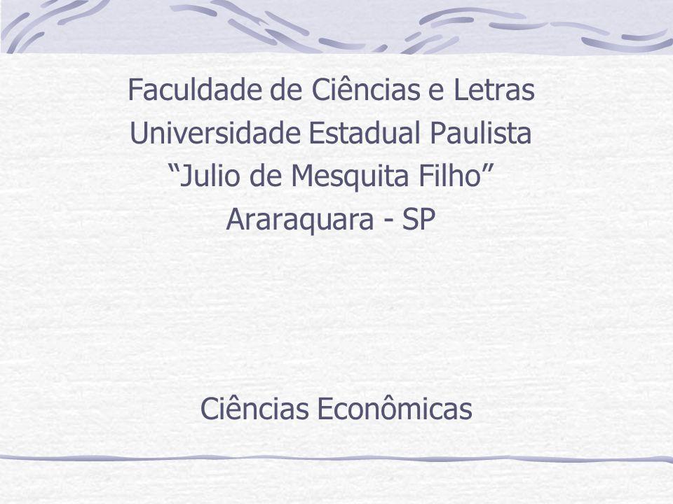 Ciências Econômicas Faculdade de Ciências e Letras Universidade Estadual Paulista Julio de Mesquita Filho Araraquara - SP