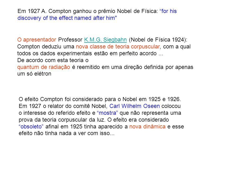 Em 1927 A. Compton ganhou o prêmio Nobel de Física: for his discovery of the effect named after him