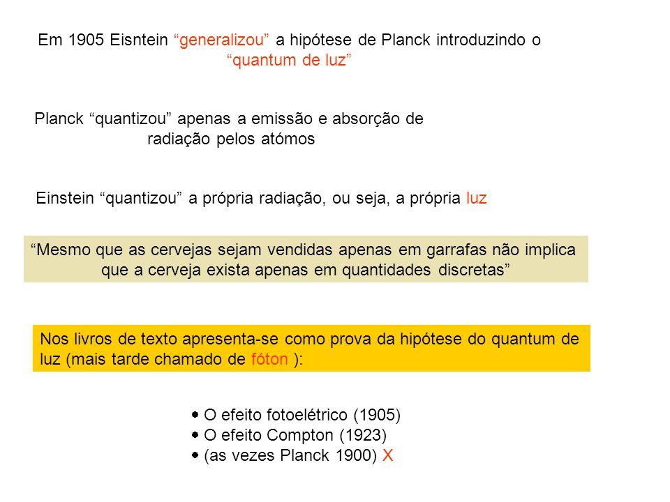 Nos livros de texto apresenta-se como prova da hipótese do quantum de luz (mais tarde chamado de fóton ): O efeito fotoelétrico (1905) O efeito Compto