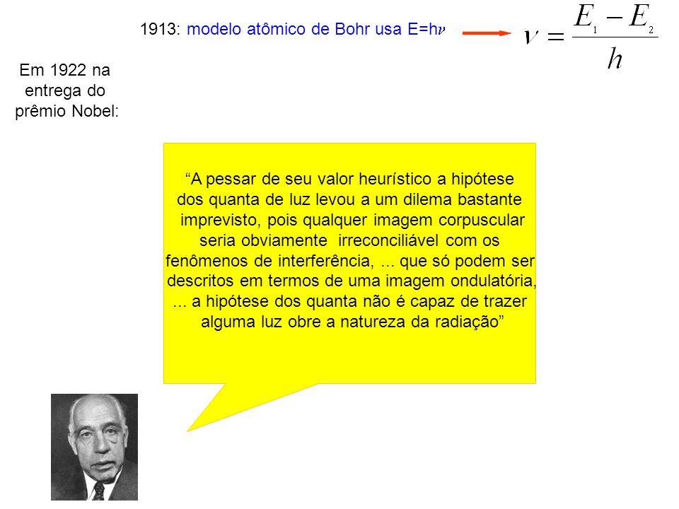 1913: modelo atômico de Bohr usa E=h Em 1922 na entrega do prêmio Nobel: A pessar de seu valor heurístico a hipótese dos quanta de luz levou a um dile