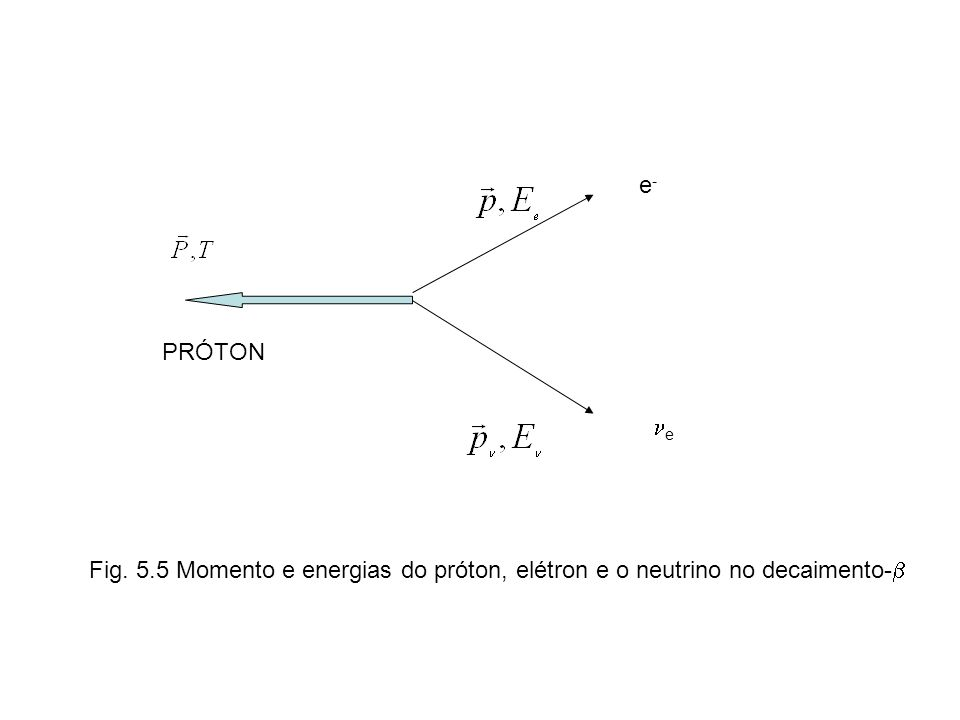 PRÓTON e-e- e Fig. 5.5 Momento e energias do próton, elétron e o neutrino no decaimento-