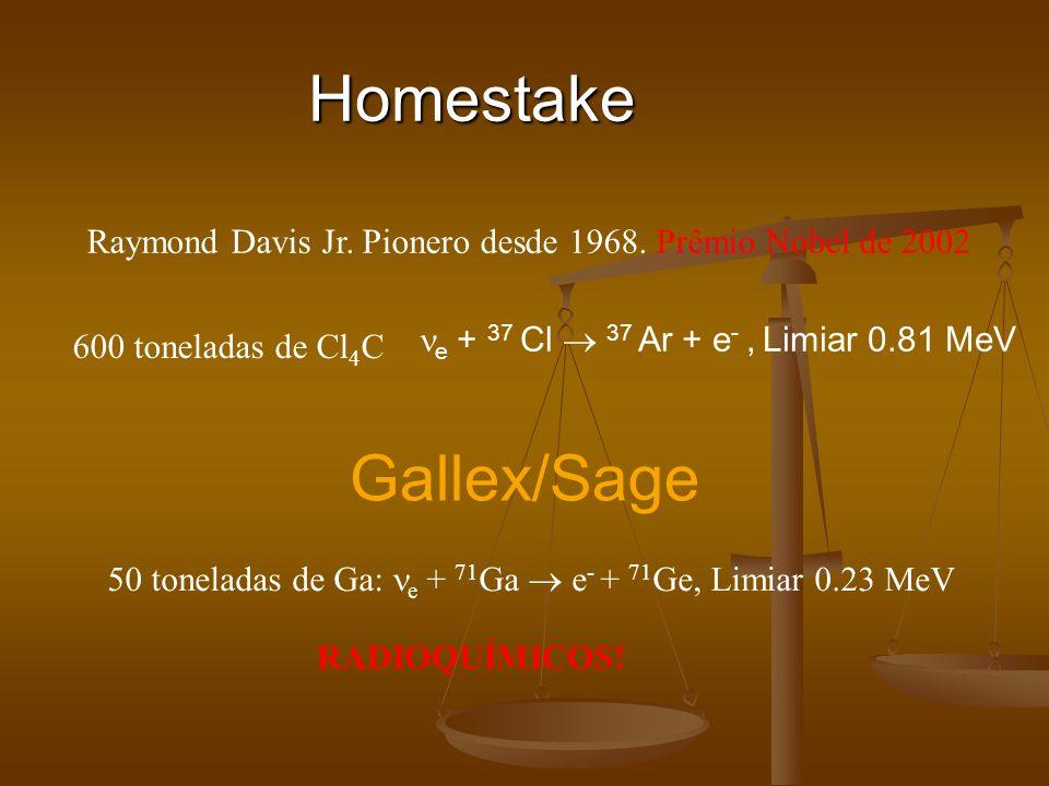 Homestake Raymond Davis Jr. Pionero desde 1968. Prêmio Nobel de 2002 600 toneladas de Cl 4 C Gallex/Sage 50 toneladas de Ga: e + 71 Ga e - + 71 Ge, Li
