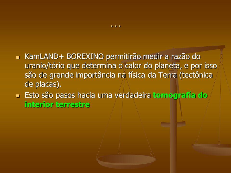 ... KamLAND+ BOREXINO permitirão medir a razão do uranio/tório que determina o calor do planeta, e por isso são de grande importância na física da Ter